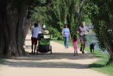 People walking in a suburban park on a sunny day next to water.