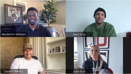 "WATCH: Zach Ertz Shares How He's Grown Spiritually Since Coming to Faith in Christ Three Years Ago in ""Huddle Up!"" Episode Along With Julie Ertz, Benjamin Watson, and Carson Wentz"