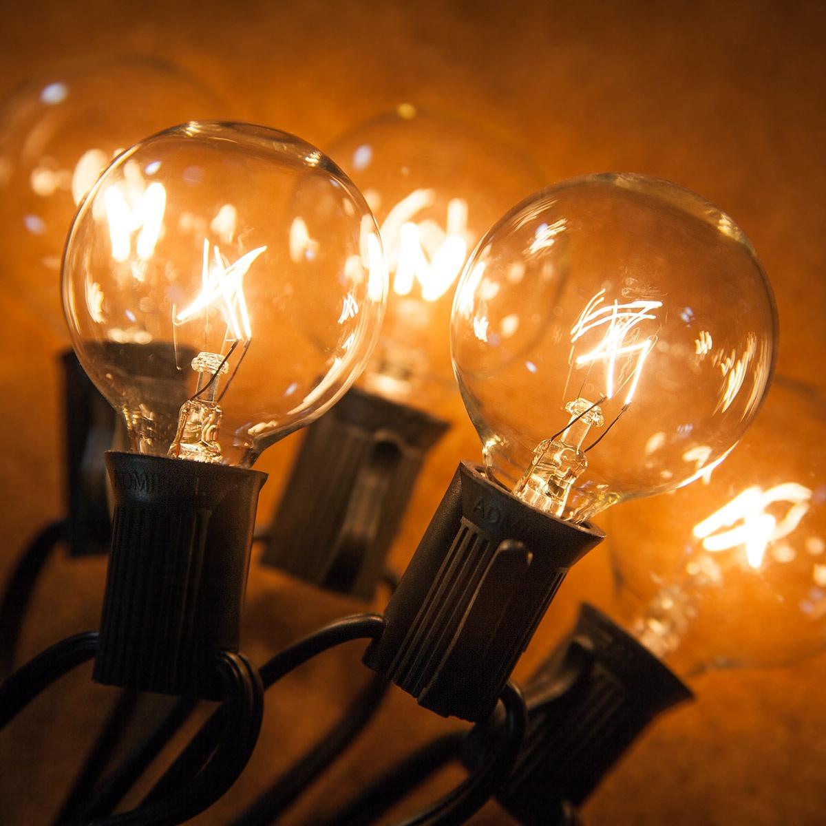 Patio Lights Clear Globe String Lights 33 G40 E12 Bulbs Black Wire