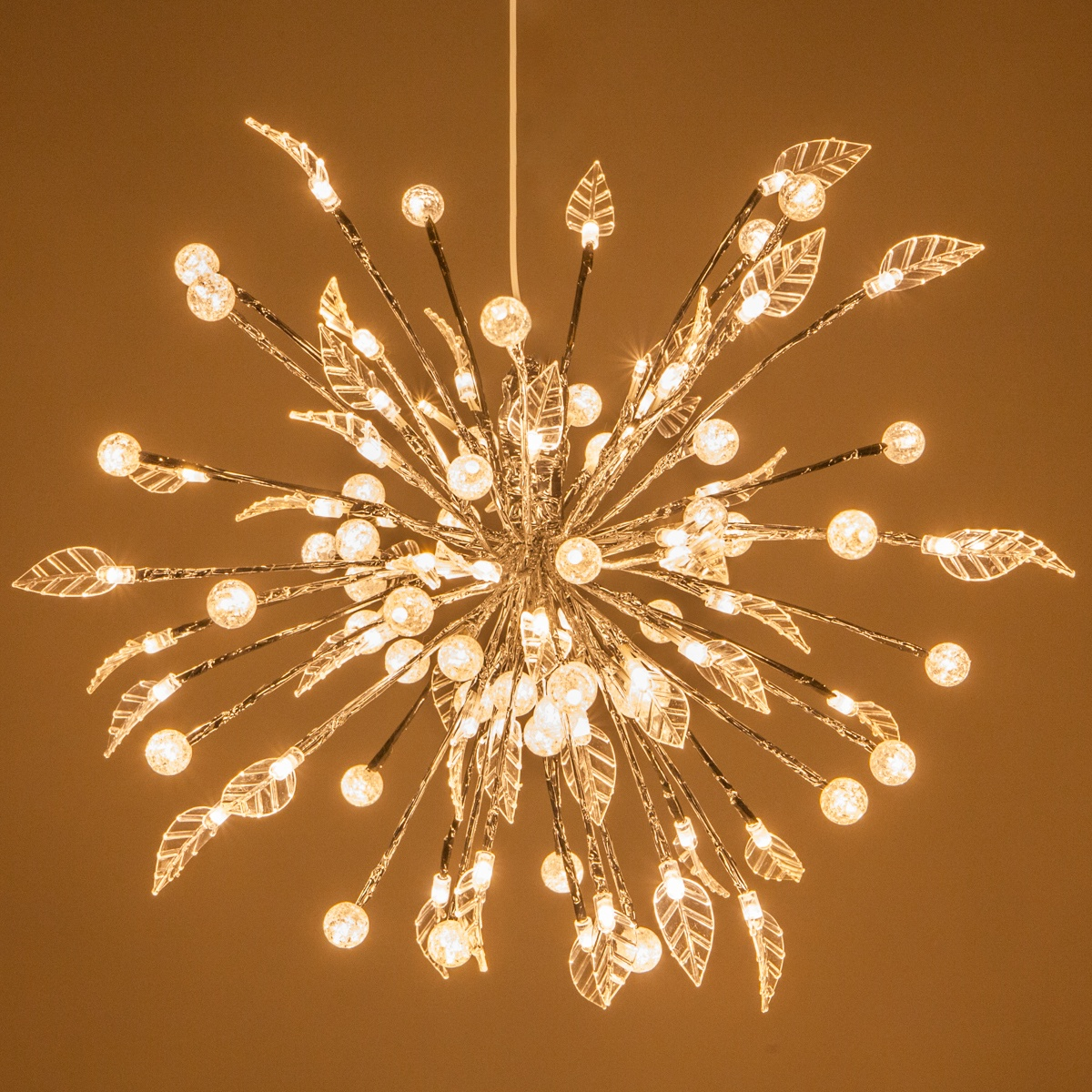 Silver Starburst Lighted Branches With Warm White LED
