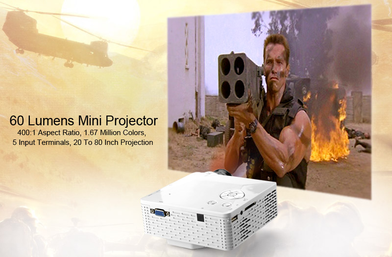 60 Lumens Mini Projector