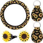 Wholesale 5pcs Car Accessories Sunflower Steering Wheel Cover With 2 Pieces Cute Sunflowers Keyring 2 Piece Car Vent Sunflowers From China