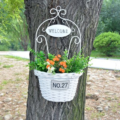 Wholesale Wicker Wall Hanging Basket Plant Hanger Flower ... on Decorative Wall Sconces For Flowers Hanging Baskets Delivery id=24702