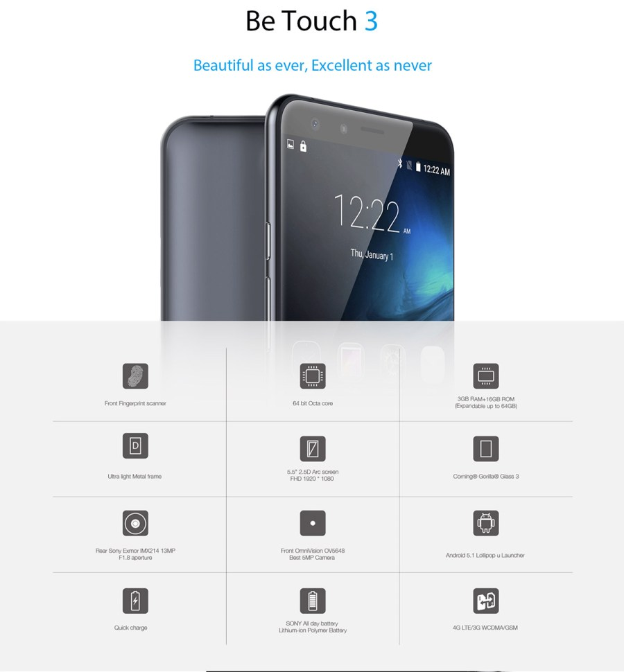 Ulefone Be Touch 3 Smartphone