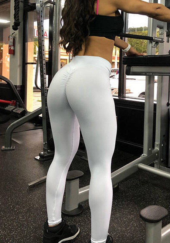 White Pleated High Waisted Yoga Workout Sports Big Booty Long Legging Leggings Bottoms