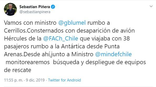 El presidente de Chile se expresó en Twitter
