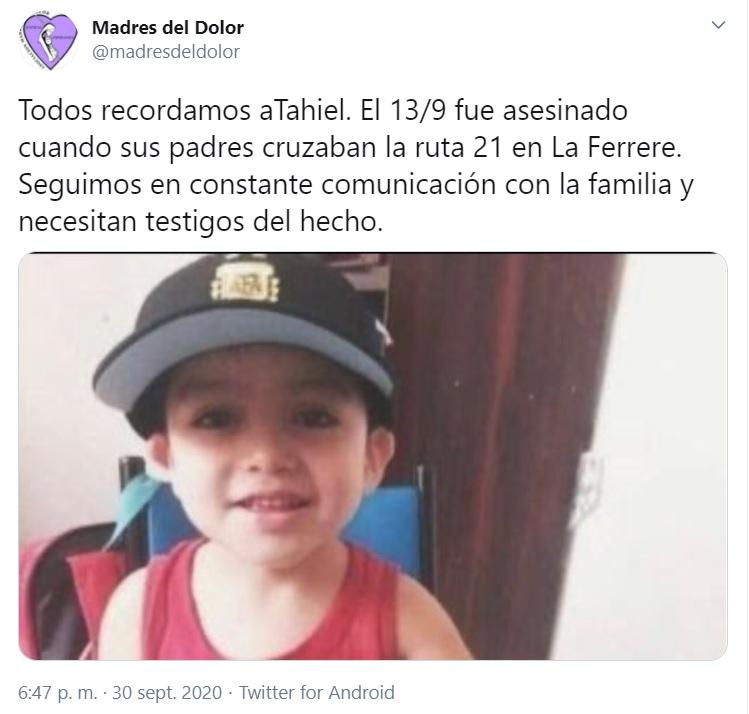 Las redes sociales de Madres del Dolor compartieron imágenes del pequeño Tahiel