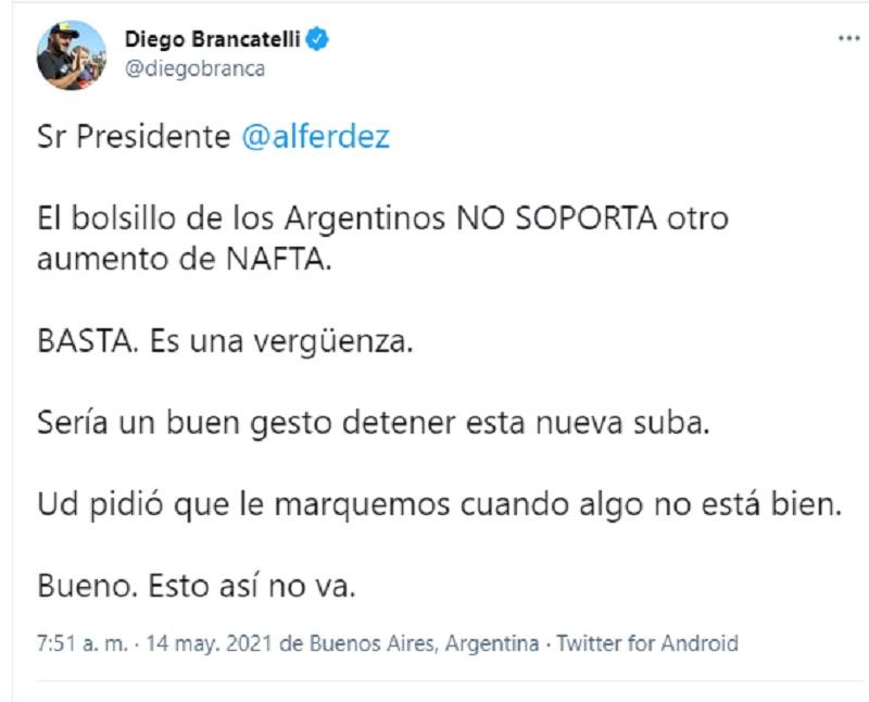 """Diego Brancatelli cruzó sorpresivamente al gobierno: """"BASTA. Es una vergüenza"""""""
