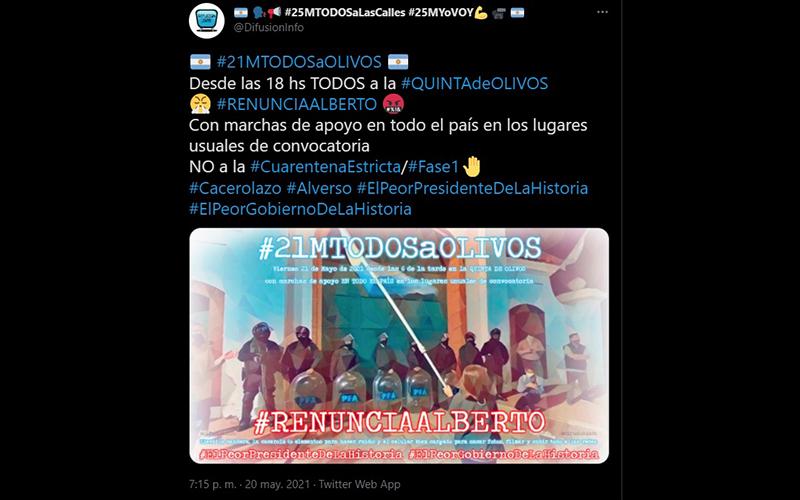 Convocan a una marcha en la Quinta de Olivos contra la cuarentena total