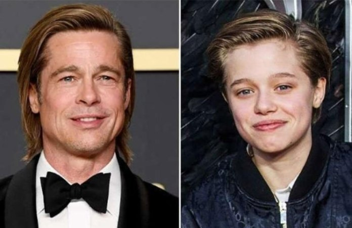 Shiloh is combed her hair to what Brad Pitt and was equal to his father