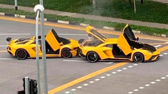 Dos Lamborghini de casi 300 mil euros chocaron entre sí y casi se prenden fuego