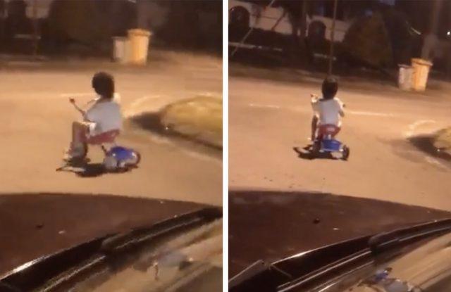 """Grabaron a un nene """"fantasma"""" andando en triciclo por la ruta y el video se hizo viral"""