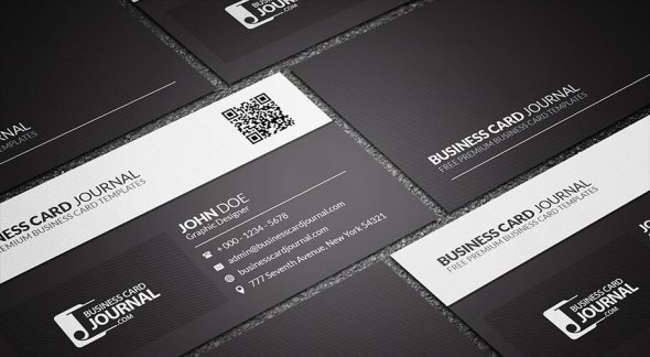 75 free business card templates that are stunning beautiful 12 black and white qr code business card wajeb Gallery