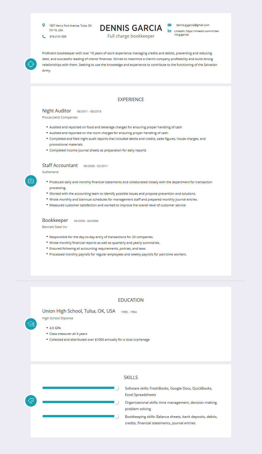 bookkeeper resume  examples  template  u0026 complete guide