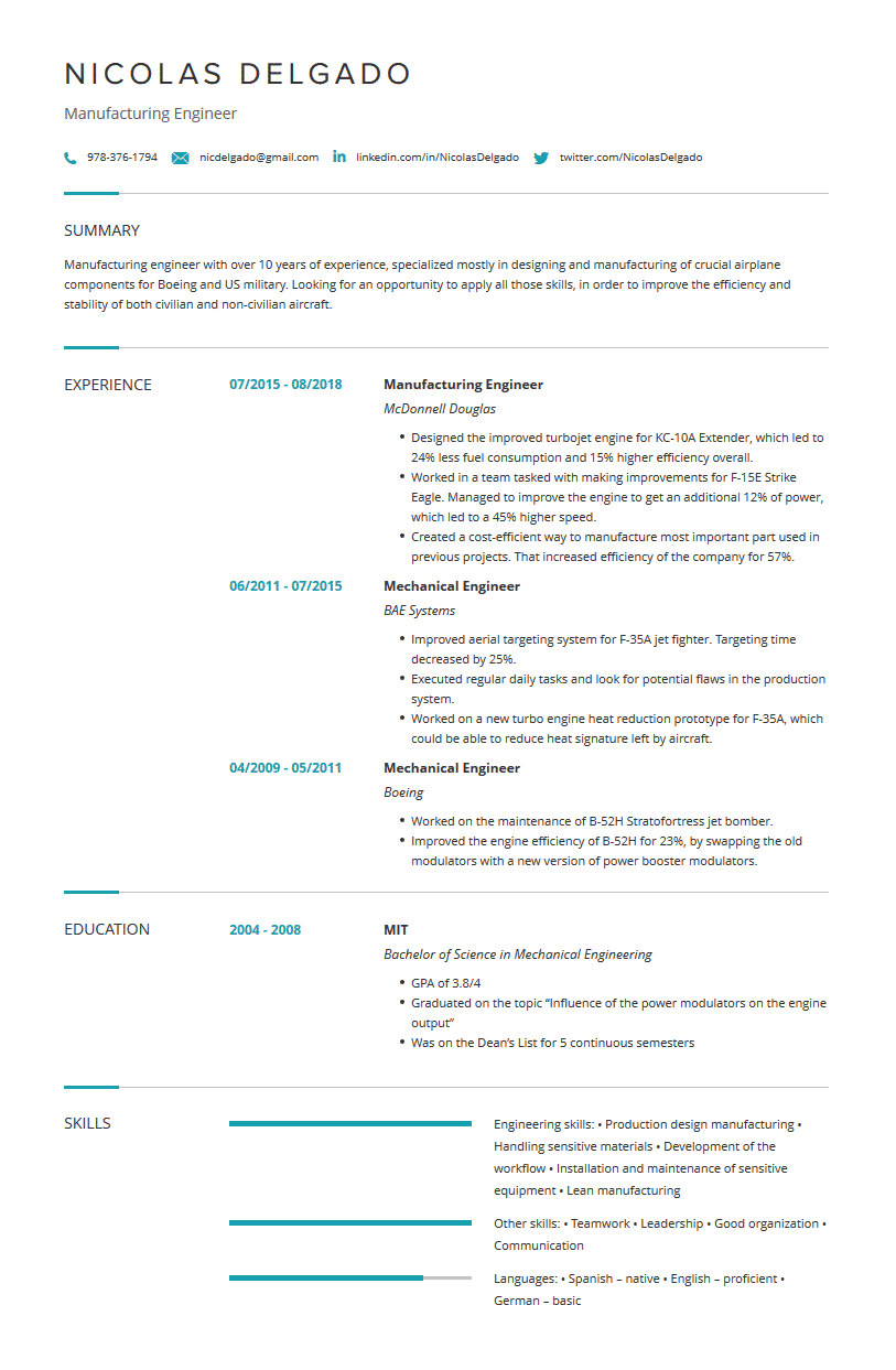 mechanical engineering resume  examples  template  u0026 tips