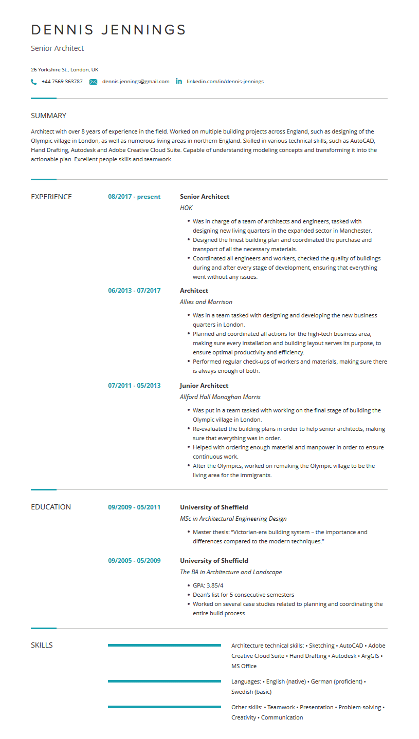 Architecture Resume: Examples, Template and Resume Tips ...