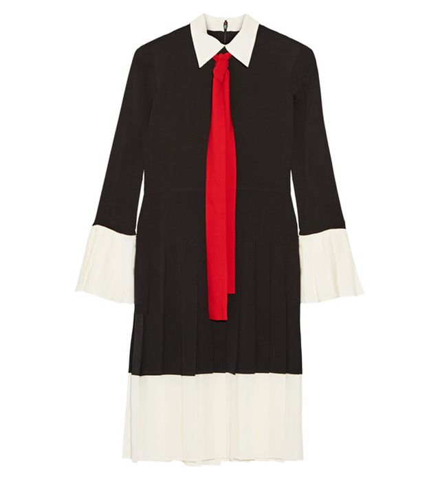 Gucci Pussy-Bow Pleated Silk Crepe de Chine Dress