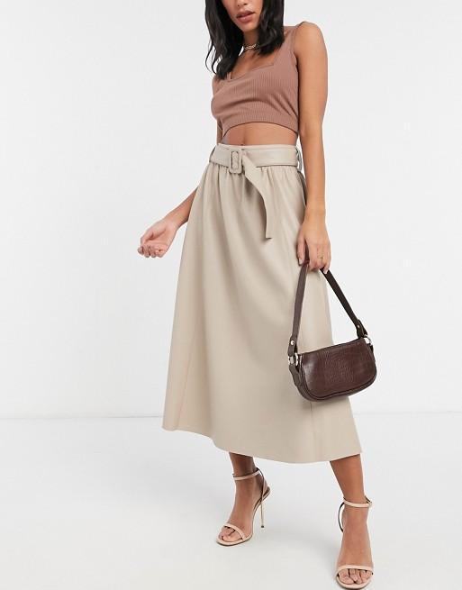 Asos Belted Midi Skirt