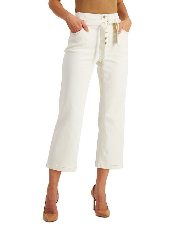INC Cropped Button-Fly Jeans