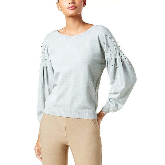 INC International Concepts Petite Embellished-Sleeve Sweater