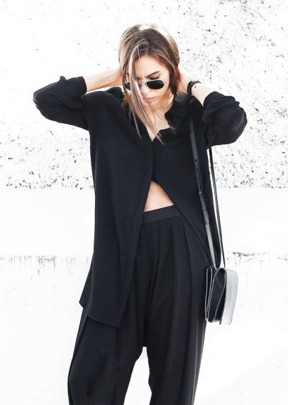 Oversize Blouse + High-Waisted Trousers