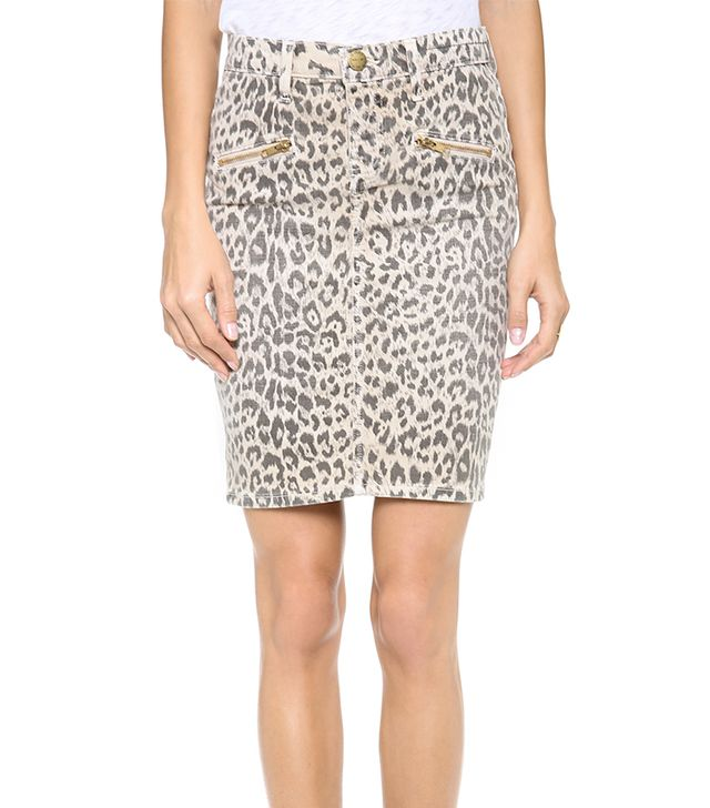 Pencil skirts usually conjure images of office outfits, but this leopard denim version is perfect for the weekend.  Current/Elliott The Soho Zip Stiletto Pencil Skirt ($188)