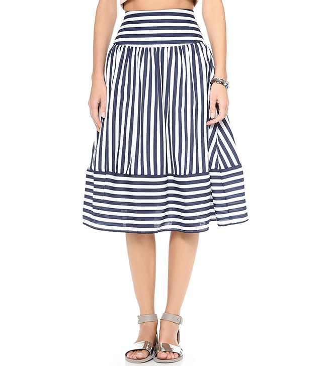 Midi skirts aren't going anywhere for spring, and since the trend was practically made for your body type, we recommend you strike while the iron is hot with this striped version.  JOA...