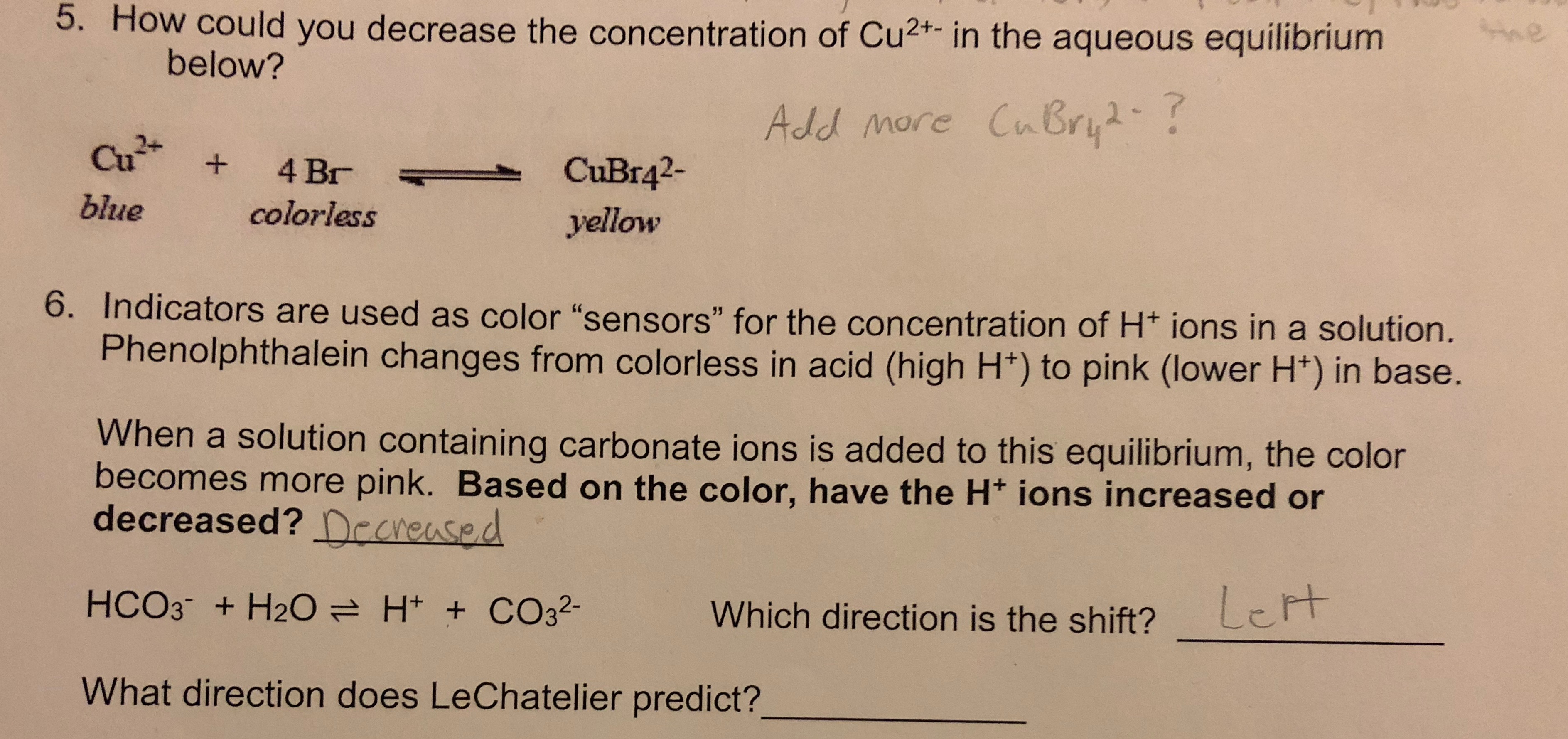 I Am Having Trouble With Le Chatelier S Principle