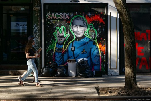 A photo of street art depicting Dr. Anthony Fauci as Spock