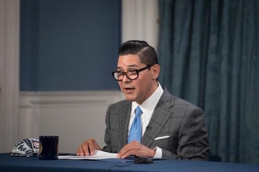 NYC Schools Chancellor Richard Carranza announces the 2020-2021 school year plans at a news briefing with Mayor Bill de Blasio.