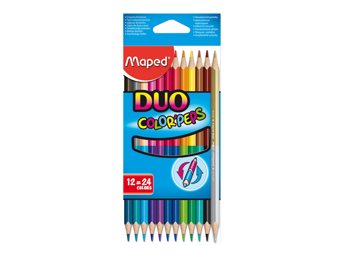 Maped ColorPeps Duo 12 Crayons Bicolores Crayons De