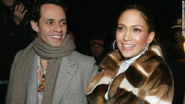 Jennifer Lopez and her husband Marc Anthony leave the Jennifer Lopez Fall 2005 show during Olympus Fashion Week at Bryant Park on February 11, 2005 in New York City.