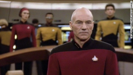 """Patrick Stewart as Capt. Jean-Luc Picard in a scene from an episode of """"Star Trek: The Next Generation."""""""