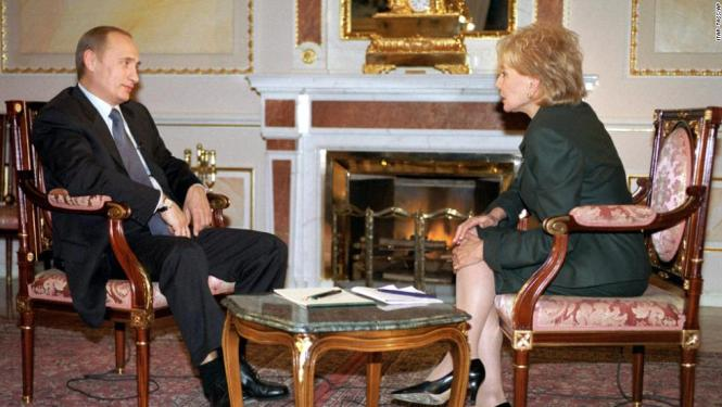 Russian President Vladimir Putin Left Speaks With Walters At The Kremlin In Moscow On