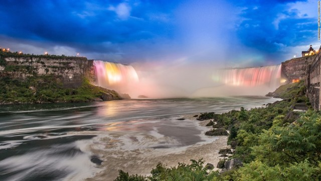 Niagara Falls refers to three different sets of falls on the border between Canada and the United States. Horseshoe Falls (pictured) is the most famous.