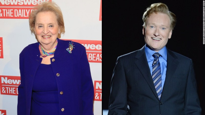 """Former Secretary of State Madeleine Albright did not let Conan O'Brien get away with<a href=""""https://twitter.com/ConanOBrien/status/525375393097056256"""" target=""""_blank""""> tweeting</a> that he was going as """"Slutty Madeleine Albright"""" for Halloween. She came right back at him with <a href=""""https://twitter.com/madeleine/status/525382849365815296"""" target=""""_blank"""">a hilarious response.</a>"""