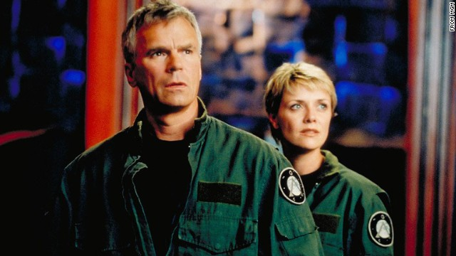 """Richard Dean Anderson as Jack O'Neill and Amanda Tapping as Samantha Carter in """"Stargate SG-1."""""""