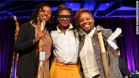 Left to right, co-founders of BLM, Opal Tometi, Alicia Garza and Patrisse Cullors appear onstage during The New York Women's Foundation Celebrating Women Breakfast in 2015.
