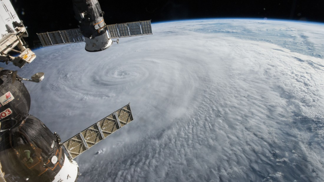 The crew of the international space station spotted Typhoon Soudeloron on August 5 as the storm moved through the western Pacific. You can see two Russian spacecraft hanging below the space station: The Soyuz TMA-17M (left) and the Progress 60 (right) cargo craft.