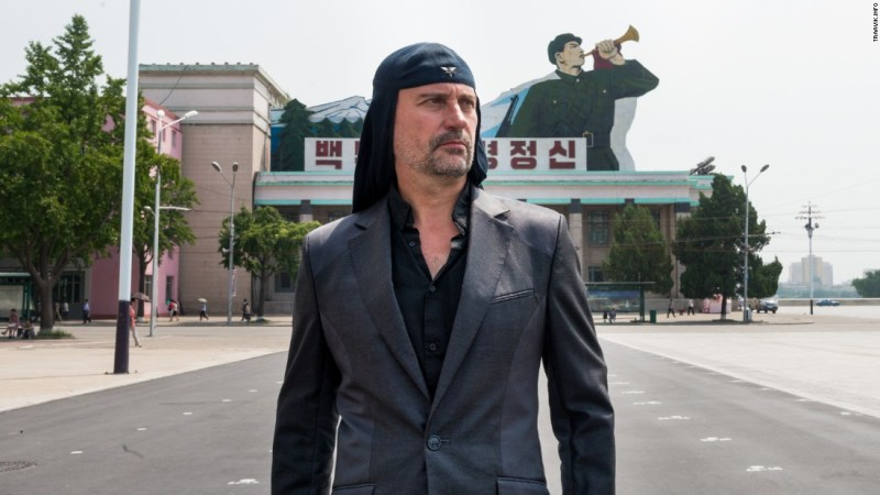 Milan Fras, front man for Laibach, poses at the Kim Il-sung Square before the band's performance in North Korea.