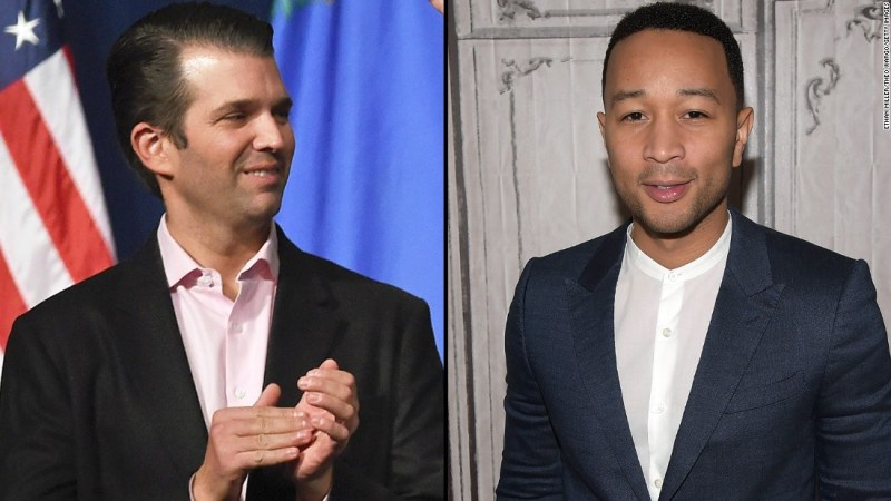 """Musician John Legend was <a href=""""http://www.cnn.com/2016/03/12/entertainment/john-legend-donald-trump-racist-feat/index.html"""">not having it</a> in March 2016 when Donald Trump Jr. said demonstrators at a Chicago campaign rally for his father could not explain what they were protesting. """"I think they were protesting your racist father. This isn't complicated,"""" Legend said on Twitter.  A Trump supporter on Twitter said Legend has """"no education,"""" to which Legend replied, """"the Donalds and I graduated from the same University, funny enough,"""" referring to the University of Pennsylvania."""