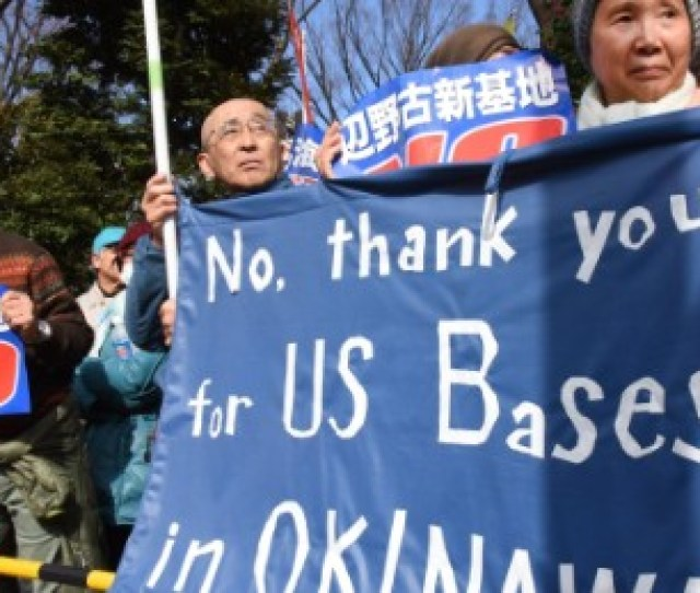 Demonstrators Protest The Construction Of A Us Marine Air Base In The Remote Henoko Part Of