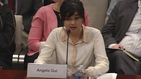 Angela Gui, daughter of missing Hong Kong-based bookseller Gui Minhai, testifies before the U.S. Congressional Executive Commission on China.