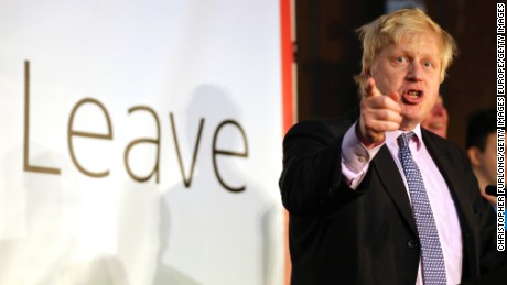 Boris Johnson addresses supporters during a rally for the 'Vote Leave' campaign on April 15, 2016 in Manchester, England.