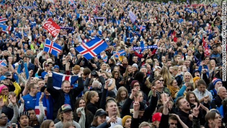 Iceland fans in Reykjavik celebrate the famous victory over England at Euro 2016.