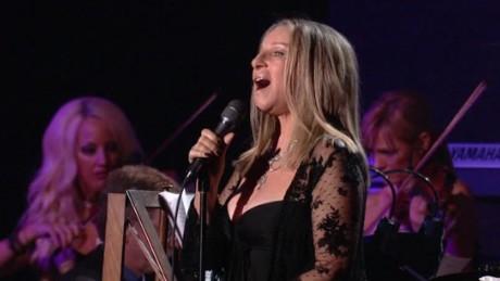 Barbra Streisand performs.