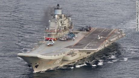 The Russian aircraft carrier Admiral Kuznetsov is seen in 2016.