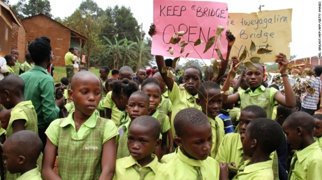 Pupils from Bridge International Academies protest after Uganda's High Court ordered the closure of its low-cost private schools.