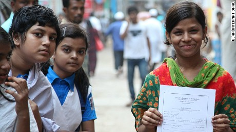 Birth registration for children in many rural villages is almost none existent according to Plan.
