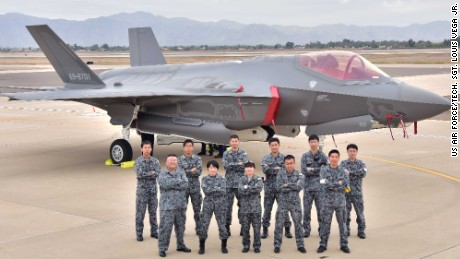 Japanese Air Self-Defense Force staff in 2016 in Arizona for the arrival of the first Japanese F-35A.